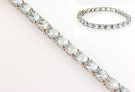 14 Karat White Gold Aquamarine Tennis Bracelet