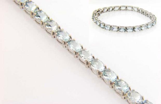 14 Karat White Gold Aquamarine Tennis Bracelet