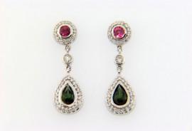 Green & Pink Tourmaline Diamond Drop Earrings