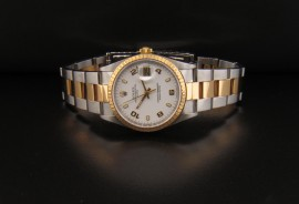 White Dial with Luminescence Gold Arabic Numerals with Lum Stick Hands