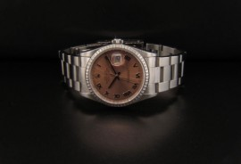 Rose Dial with Stn Roman Numerals and Stn Stick Hands